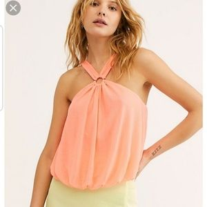 Free People Halter Sleeveless Just a Fling Top